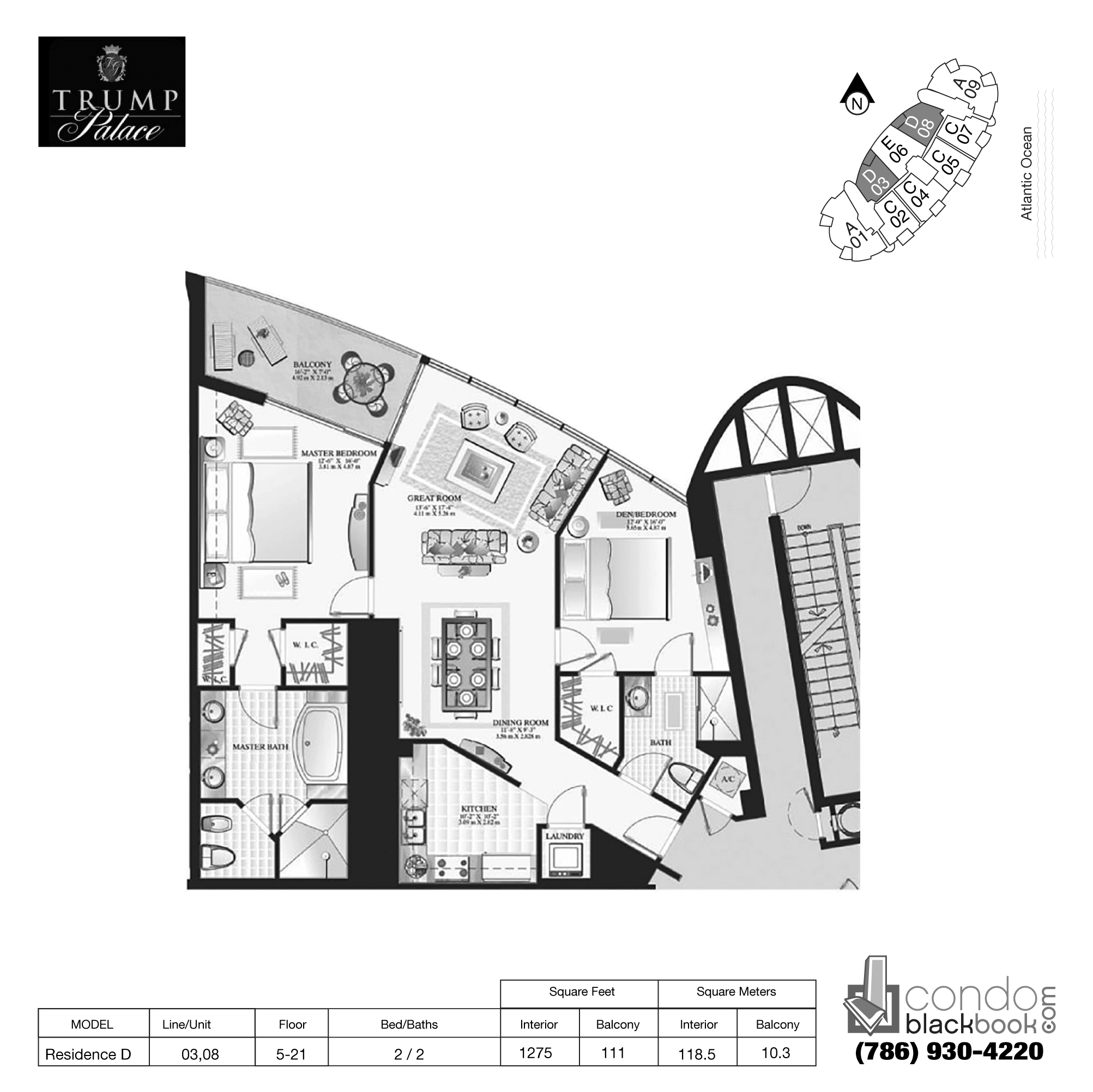 Floor plan for Trump Palace Sunny Isles Beach, model Res. D, line 03,08, 2 / 2 bedrooms, 1275 sq ft