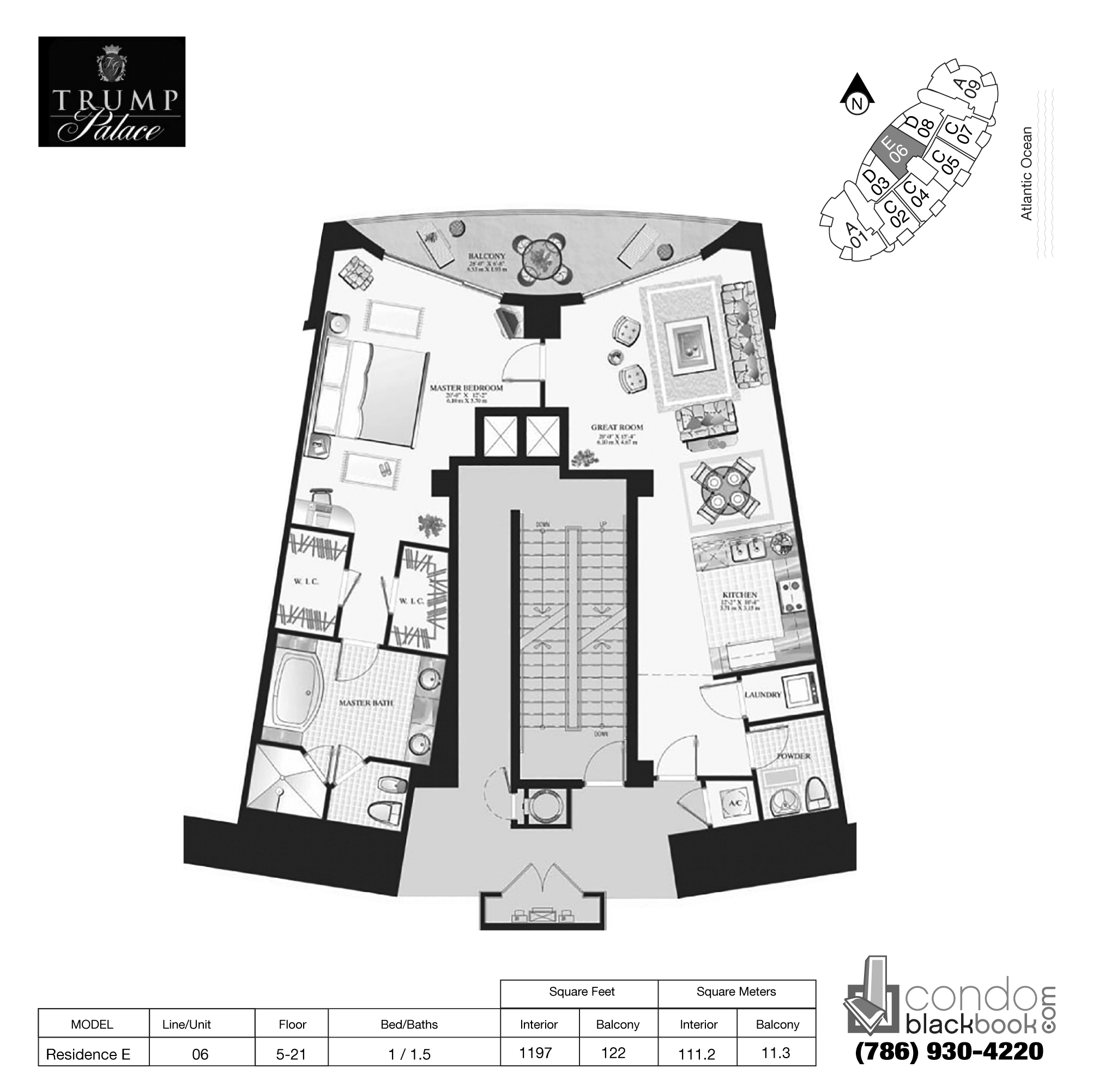 Floor plan for Trump Palace Sunny Isles Beach, model Res. E, line 06, 1 / 1.5 bedrooms, 1197 sq ft