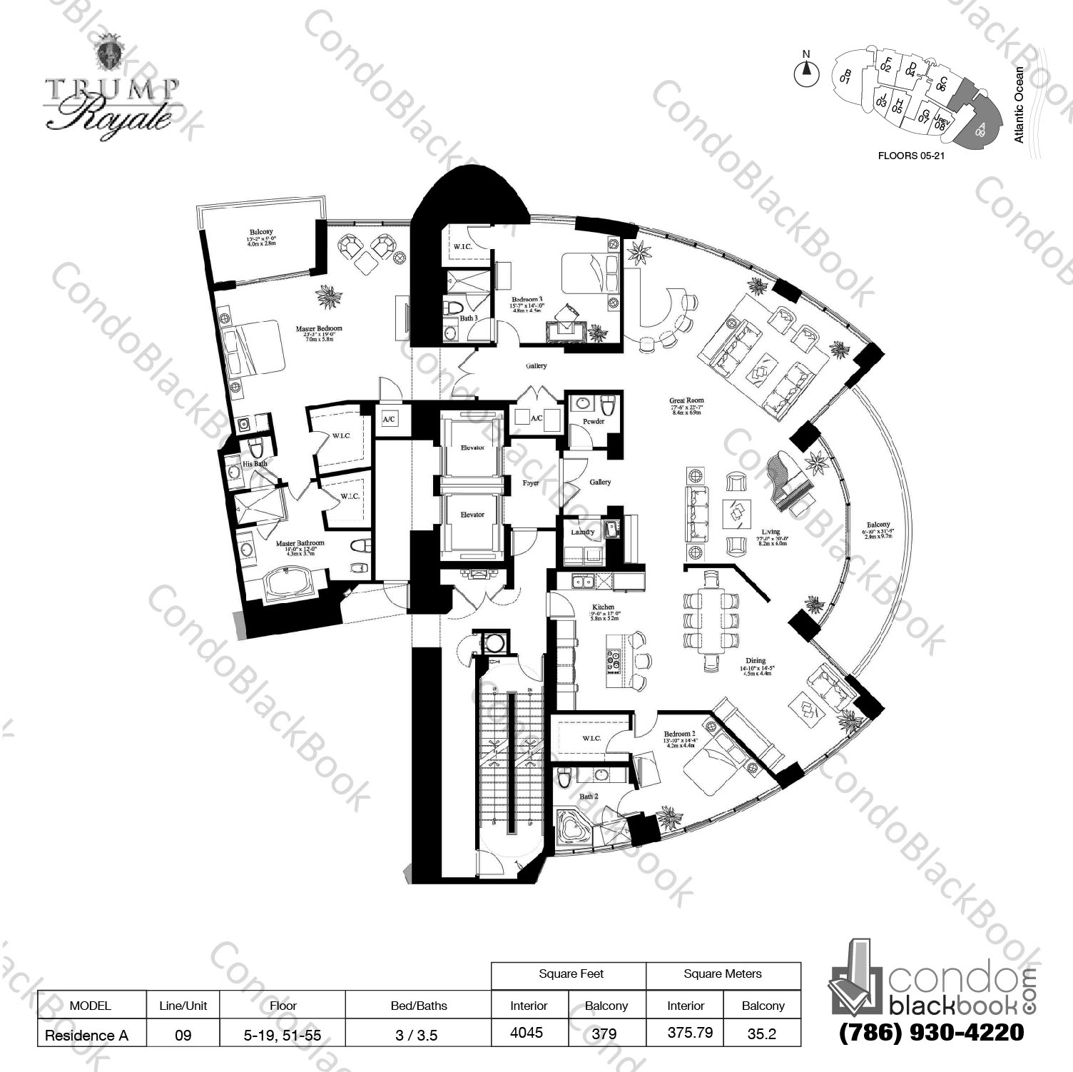 Floor plan for Trump Royale Sunny Isles Beach, model Residence A, line 09, 3 / 3.5 bedrooms, 4054 sq ft