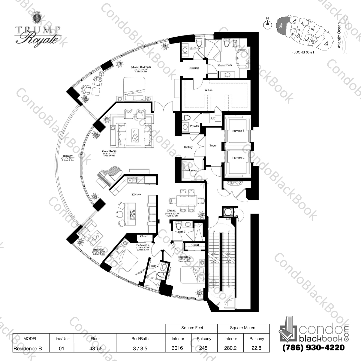 Floor plan for Trump Royale Sunny Isles Beach, model Residence B, line 01, 3 / 3.5 bedrooms, 3016 sq ft