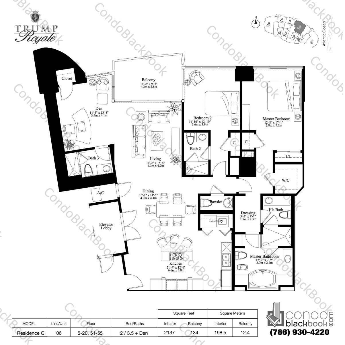 Floor plan for Trump Royale Sunny Isles Beach, model Residence C, line 06, 2 / 3.5 + Den bedrooms, 2137 sq ft