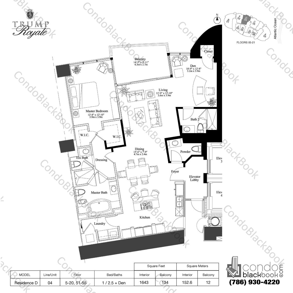 Floor plan for Trump Royale Sunny Isles Beach, model Residence D, line 04, 1 / 2.5 + Den bedrooms, 1643 sq ft