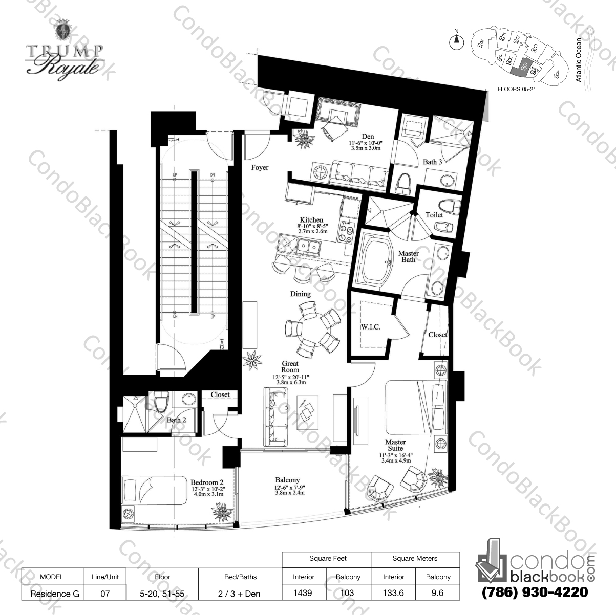 Floor plan for Trump Royale Sunny Isles Beach, model Residence G, line 07, 2 / 3 + Den bedrooms, 1439 sq ft