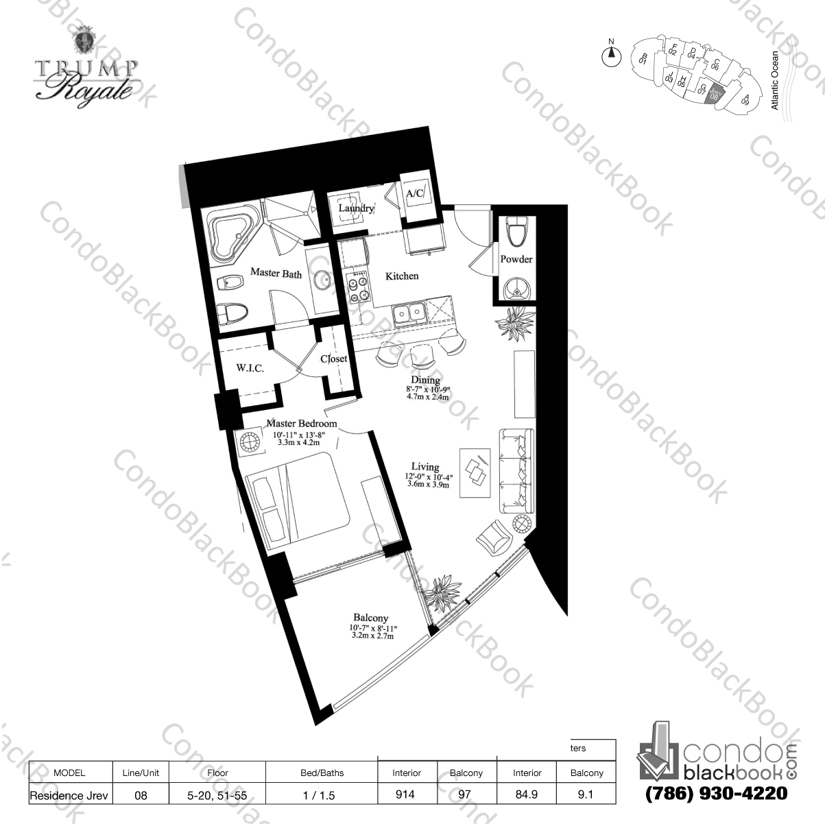 Floor plan for Trump Royale Sunny Isles Beach, model Residence Jrev, line 08, 1 / 1.5 bedrooms, 914 sq ft