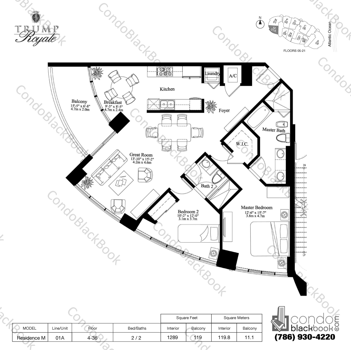 Floor plan for Trump Royale Sunny Isles Beach, model Residence M, line 01A, 2 / 2 bedrooms, 1289 sq ft