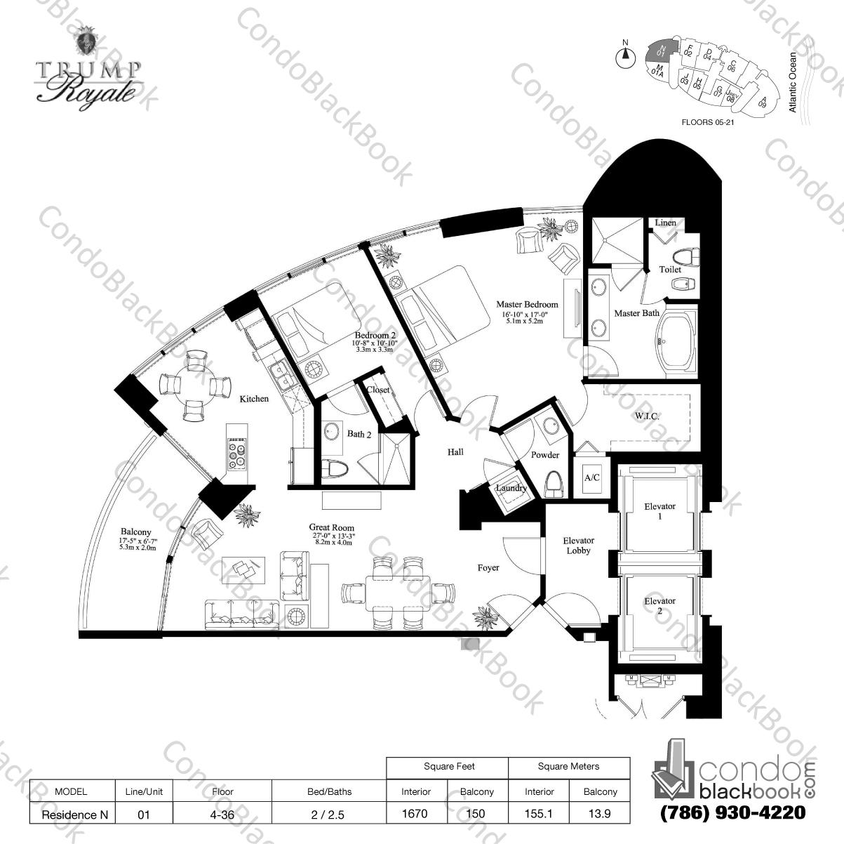 Floor plan for Trump Royale Sunny Isles Beach, model Residence N, line 01, 2 / 2.5 bedrooms, 1670 sq ft