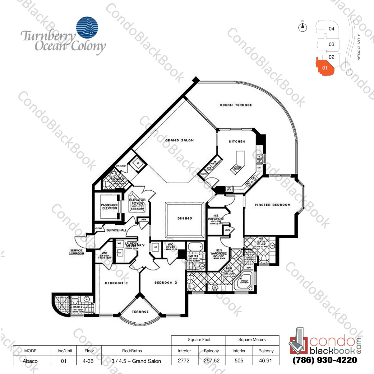 Floor plan for Turnberry Ocean Colony Sunny Isles Beach, model Abaco, line 01, 3 / 4.5 + Grand Salon bedrooms, 2772 sq ft