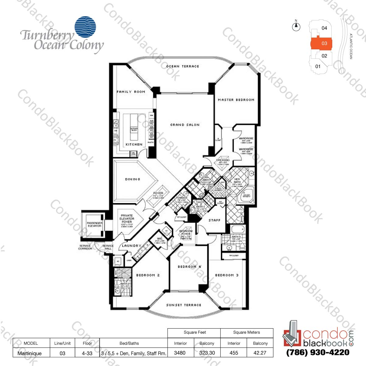 Floor plan for Turnberry Ocean Colony Sunny Isles Beach, model Martinique, line 03, 3 / 5.5+ Den, Family Rm., Staff Rm. bedrooms, 3480 sq ft