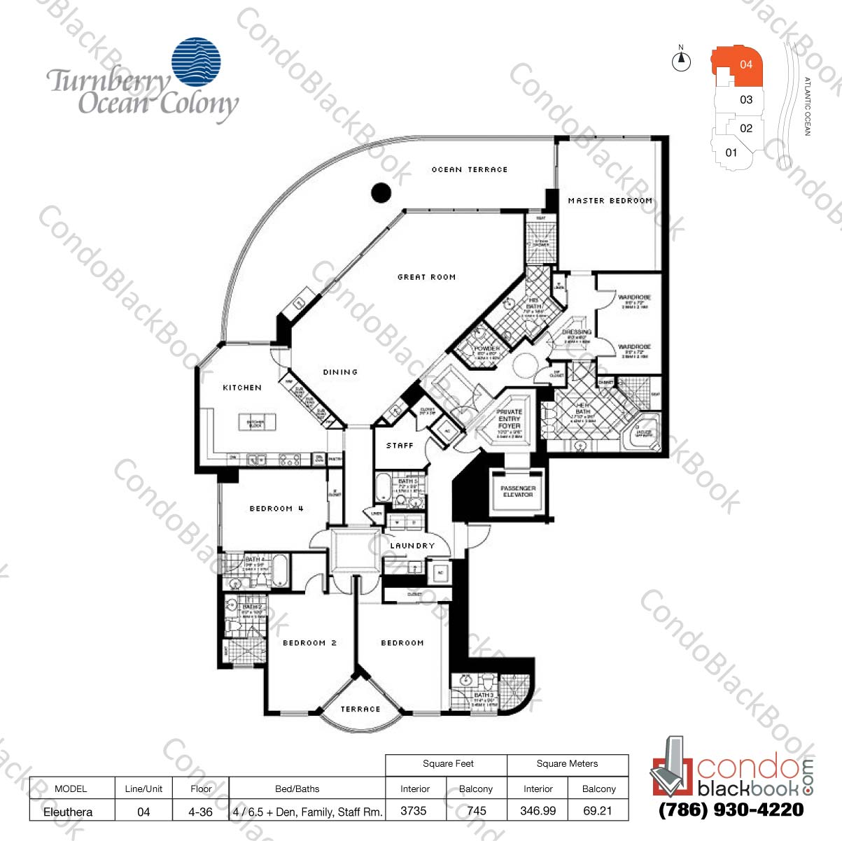 Floor plan for Turnberry Ocean Colony Sunny Isles Beach, model Eleuthera, line 04, 4 / 6.5+ Den, Family Rm., Staff Rm. bedrooms, 3735 sq ft