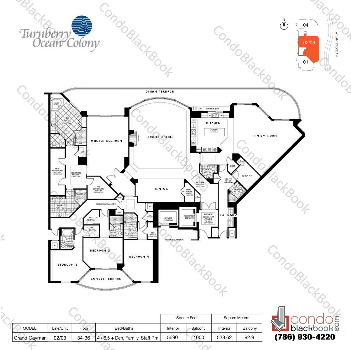 Floor plan for Turnberry Ocean Colony Sunny Isles Beach, model Grand Cayman, line 02/03, 4 / 6.5+ Den, Family Rm., Staff Rm. bedrooms, 5690 sq ft