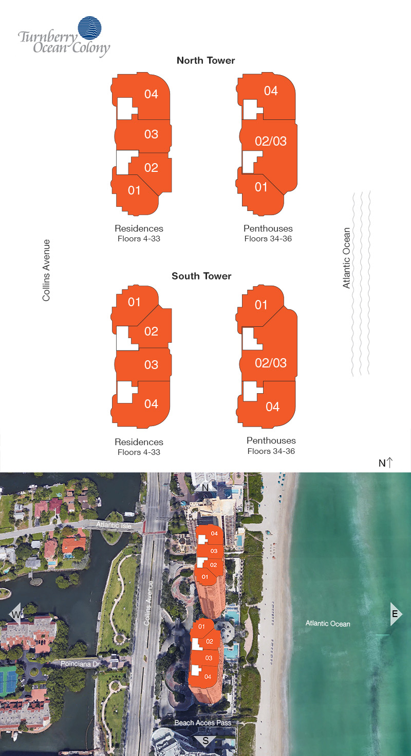 Turnberry Ocean Colony floorplan and site plan