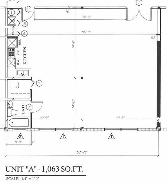 Floor plan for Wynwood Lofts Wynwood Miami, model A, line 03,04,06,08,09,10,11, 0/1 bedrooms, 1063 sq ft