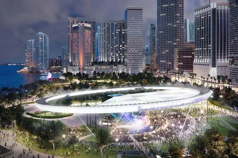 Bayfront Ampitheater with retractable 'solar-halo- roof (concept)