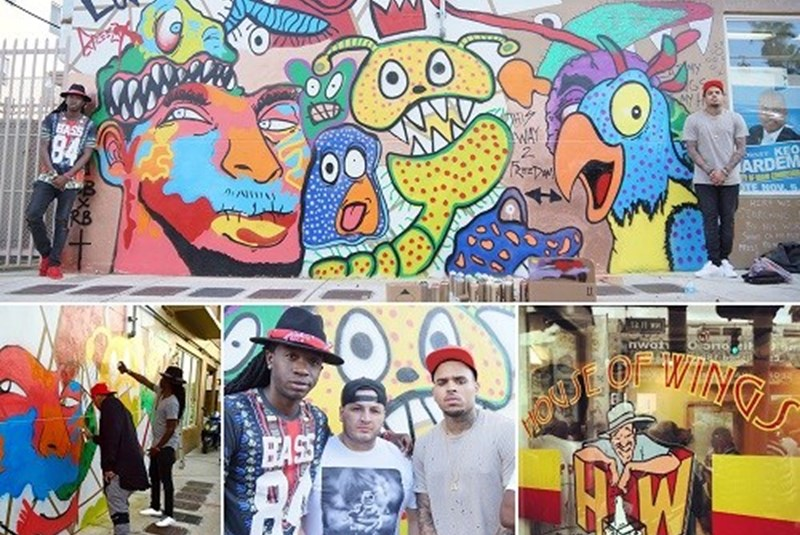 Chris Brown Finishes Mural on Overtown's House of Wings